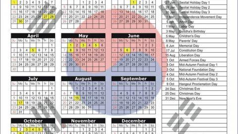 Các ngày lễ quan trọng và ngày lễ thông thường tại Hàn Quốc